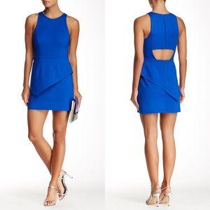 Halston Heritage Skirt Overlay Cutout Mini Dress